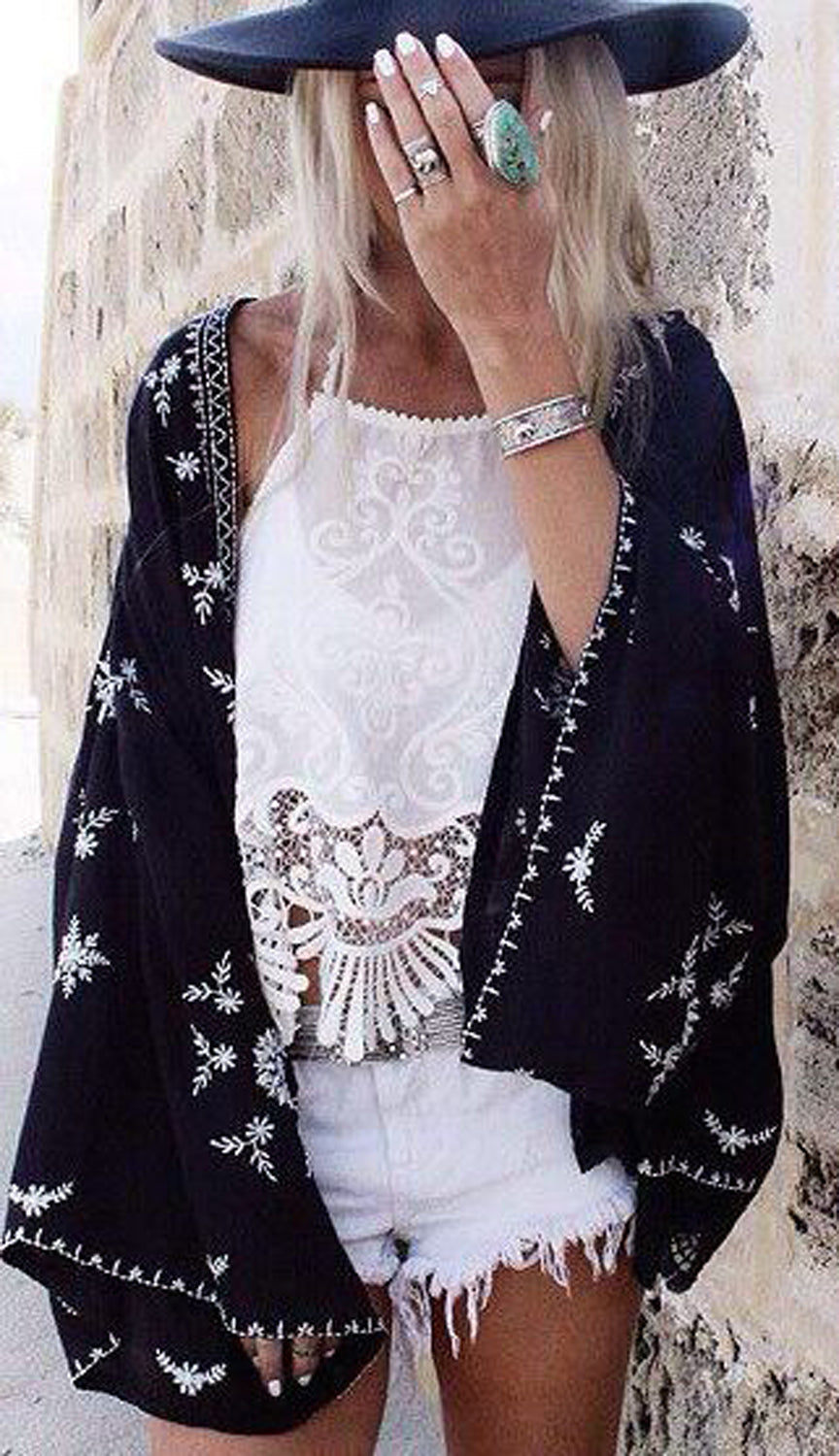 Womens Modern Boho Bohemian Outfit Ideas - Silver Turquoise Statements Rings - Black Floral Lace Poncho - Fedora - MyBodiArt.com