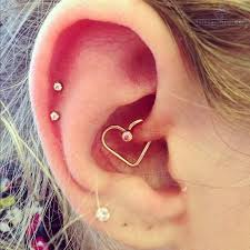Cartilage Piercing Ideas and Rook Piercing Ideas with Crystal Helix Piercing Jewelry, Heart Rook Piercing
