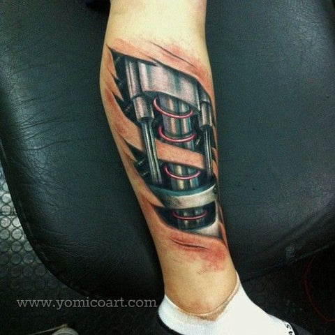 biomechanical tattoo leg - MyBodiArt.com