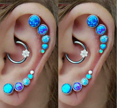 Blue Opal Cartilage Earrings at MyBodiArt