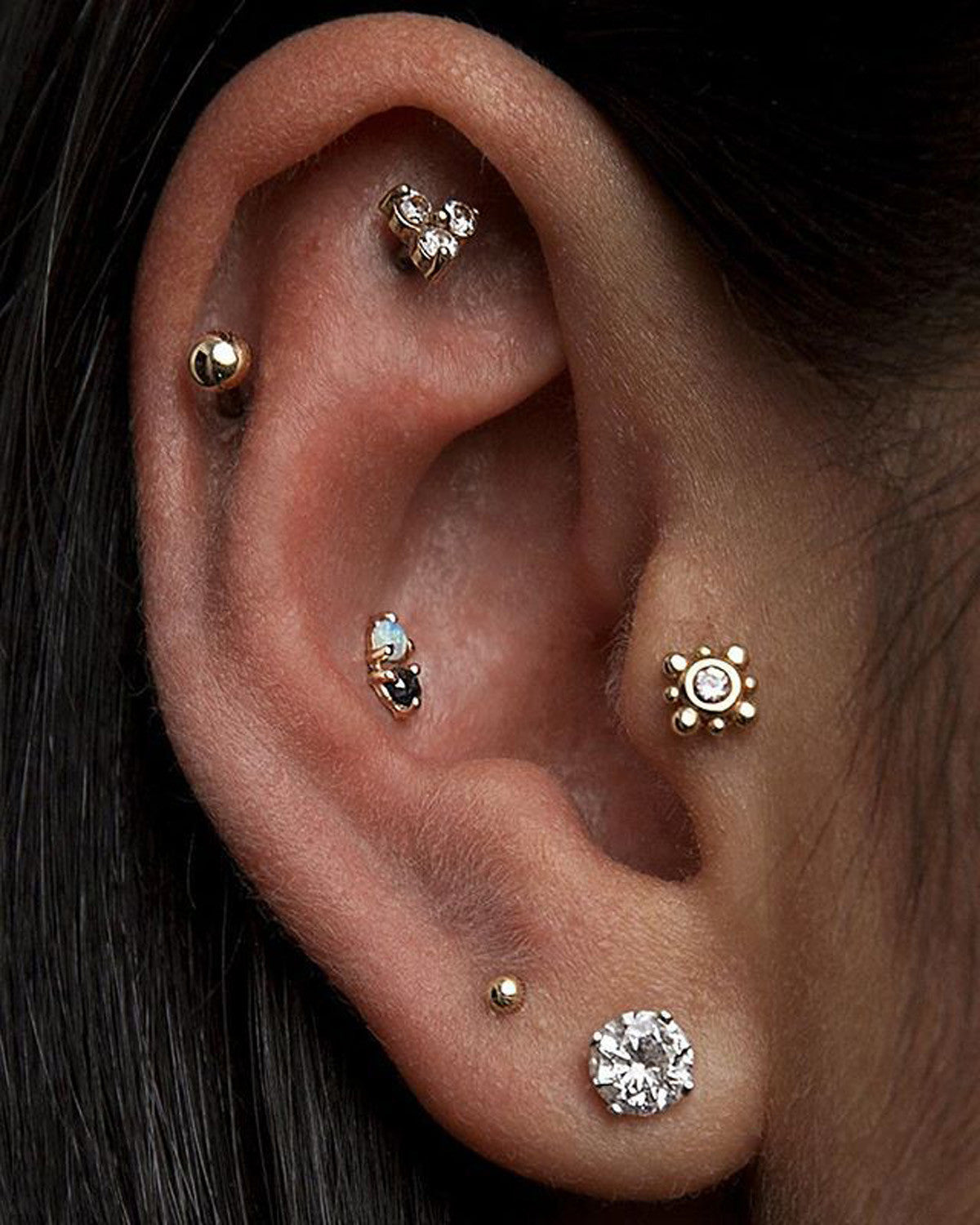 Unique Multiple Ear Piercing Ideas with Jewels - Tragus Stud, Cartilage Studs, Helix Studs at  MyBodiArt.com