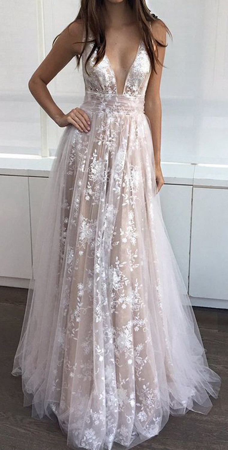 White Floral Lace Prom Dress 2017 Aline Maxi Empire Ball Gown - MyBodiArt.com