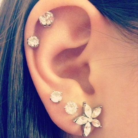 Simple yet Classic Cartilage Piercing Jewelry Studs at MyBodiArt