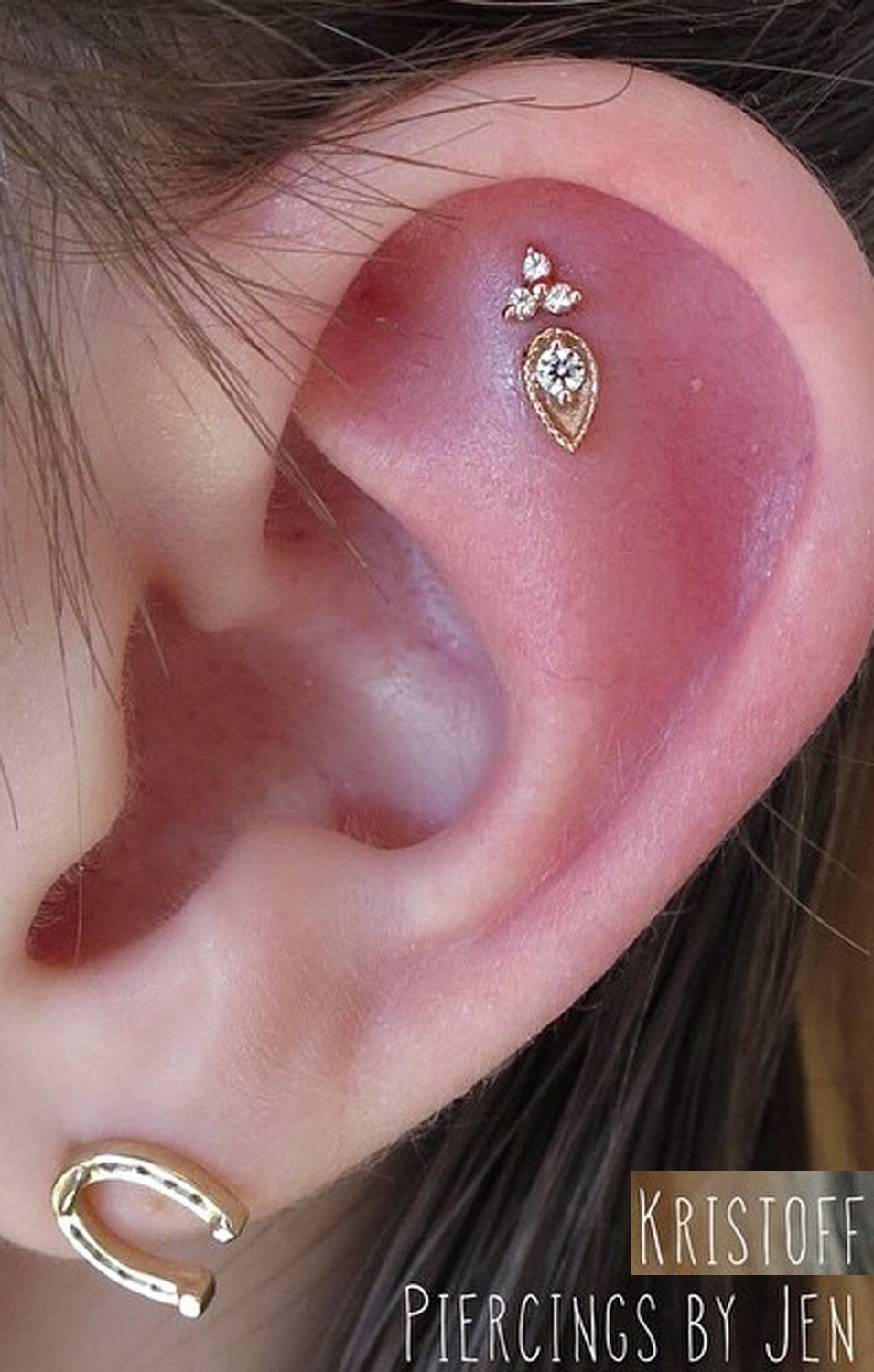 Beautiful Simple Ear Piercing Ideas at MyBodiArt.com - Constellation Piercing - Cartilage Helix Flower Earring Stud