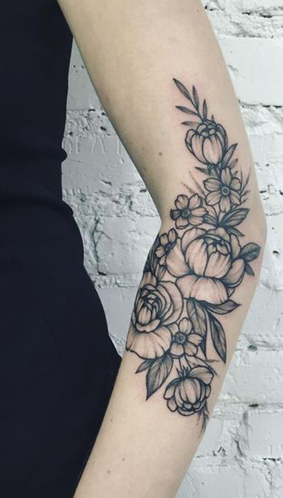 Tattoo Ideas for Women - Blac Flower Fleur Arm Sleeve - MyBodiArt.com
