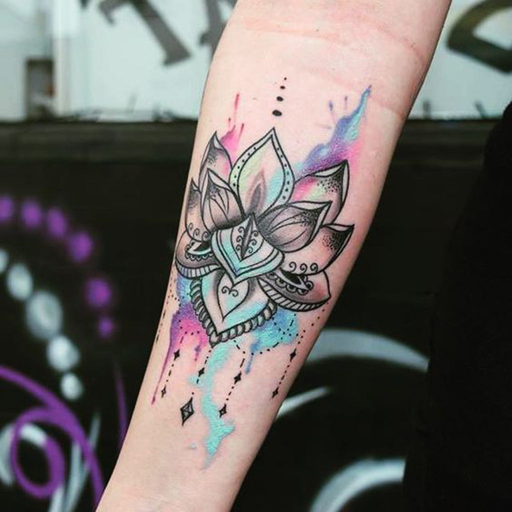 Watercolor Geometric Mandala Tribal Tattoo - MyBodiArt.com