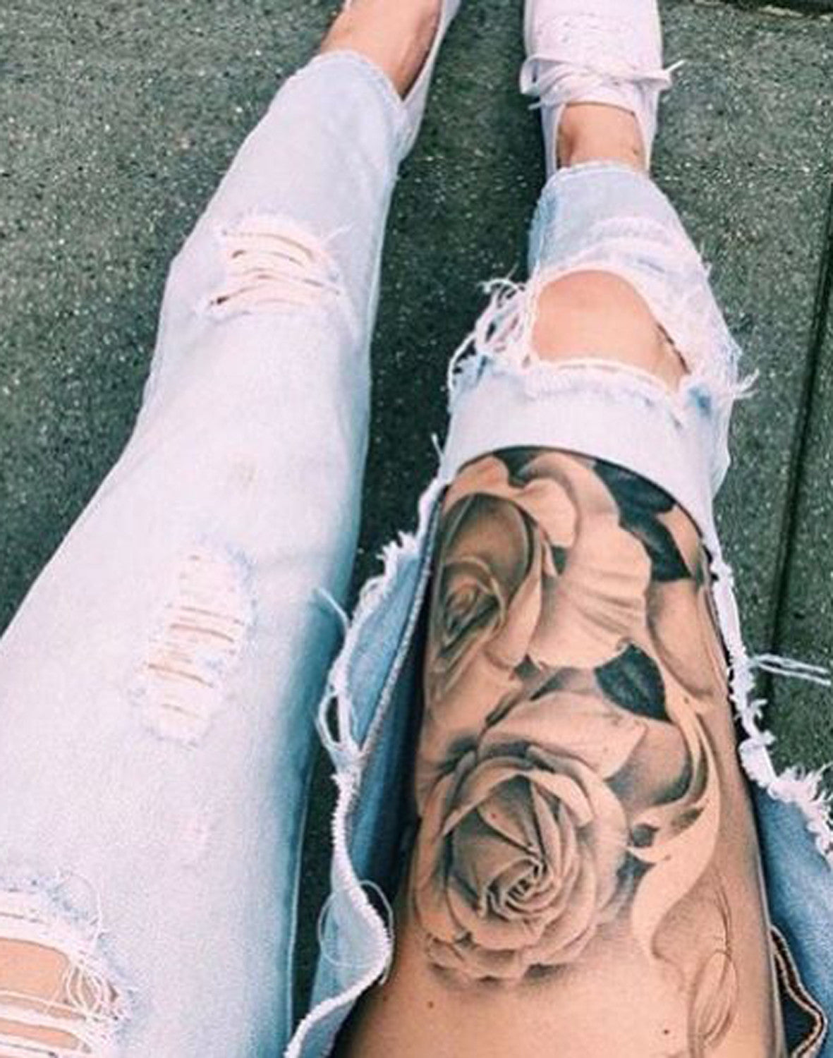 Floral Rose Flower Top of Thigh Leg Tattoo Ideas at MyBodiArt.com
