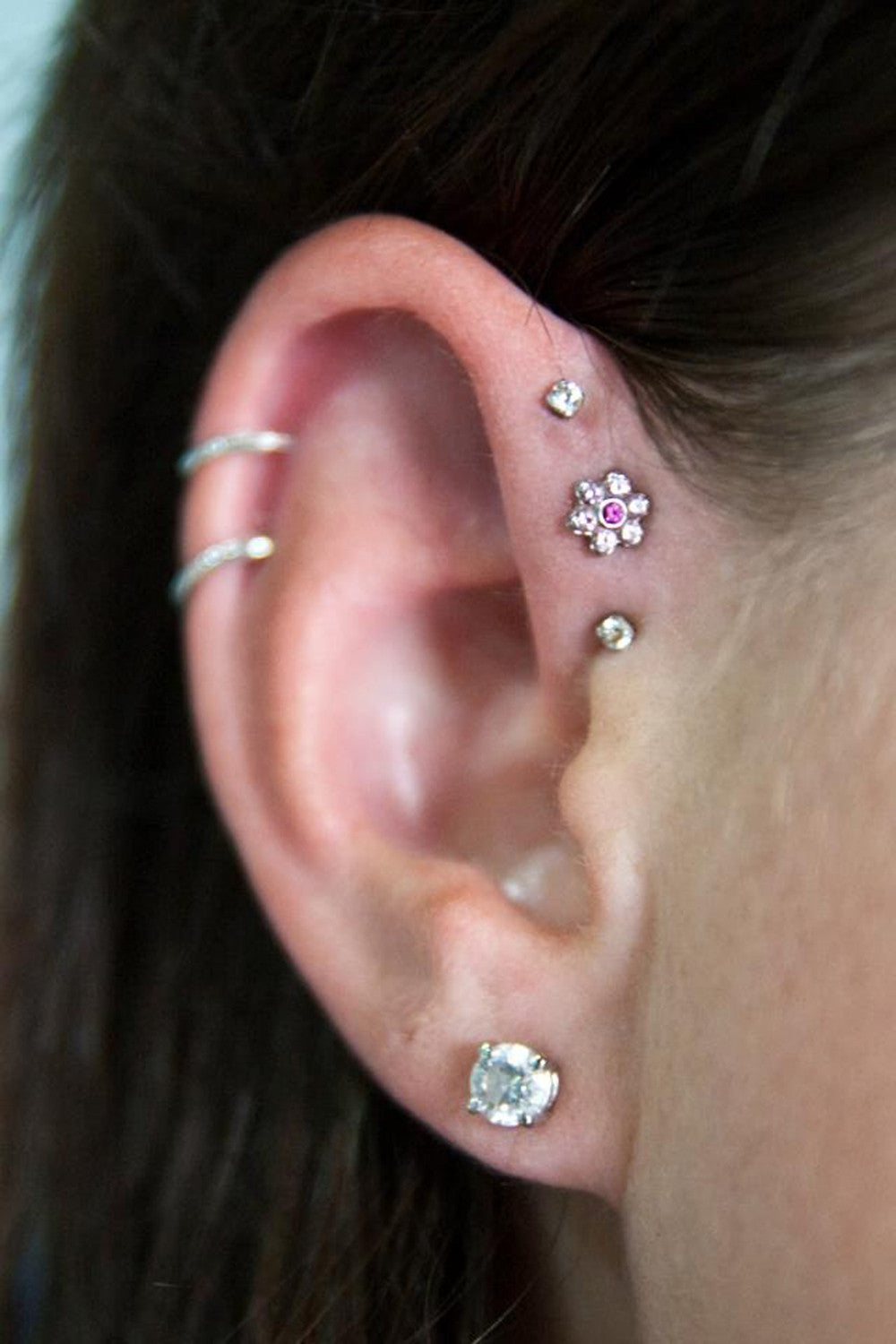 Multiple Ear Piercing Ideas at MyBodiArt.com - Silver Double Cartilage Rings Pinna Hoops Helix Upper Ear - Triple Forward Helix Crystal Flower Earrings