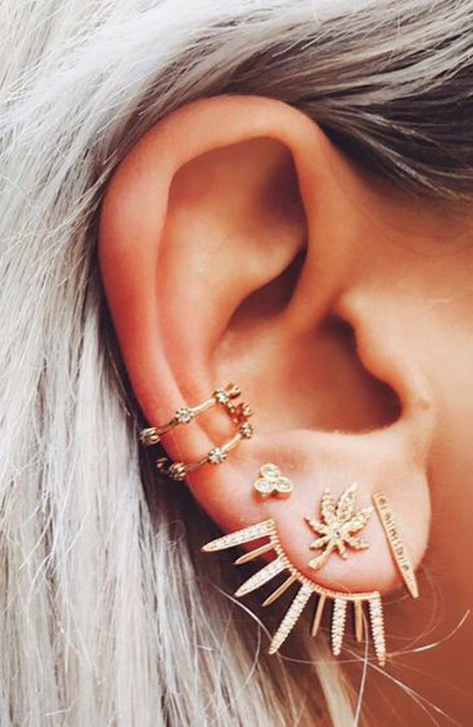 Multiple Ear Piercing Ideas for the Minimalist - Gold Spikes Crystal Ear Jacket Earring - MyBodiArt.com