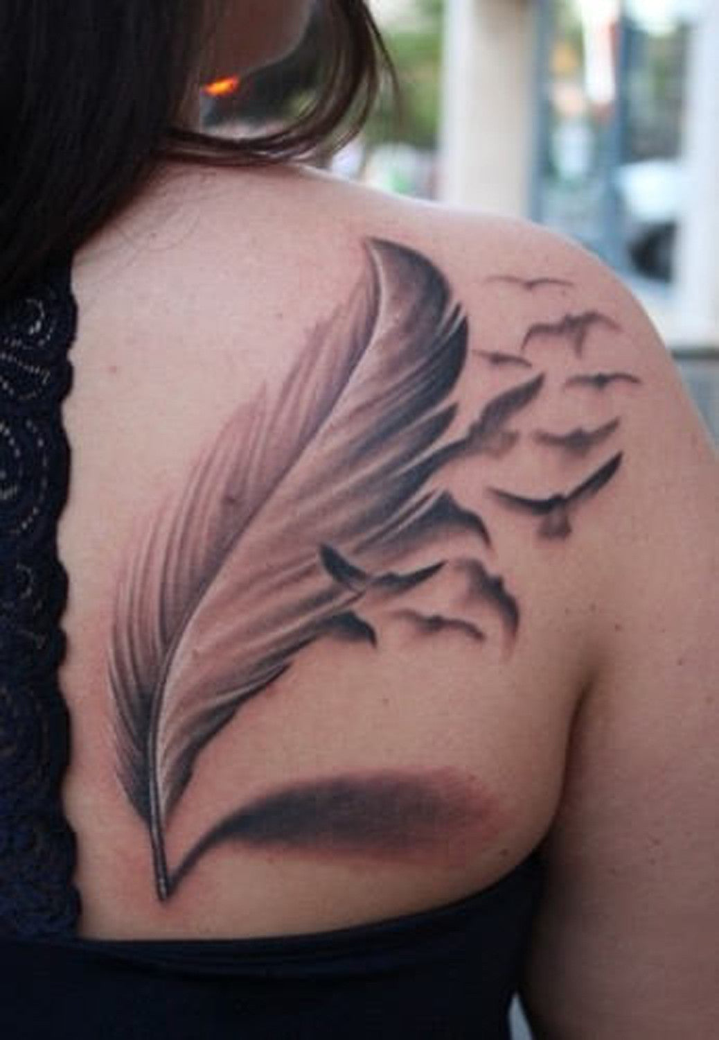 Indian Feather Tattoo With Birds and Sparrows - Womens Large Tats -  MyBodiArt.com