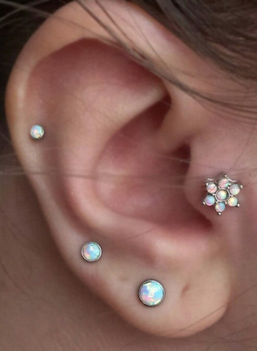 Opal Cartilage Helix Tragus Ear Piercing Jewelry at MyBodiArt.com