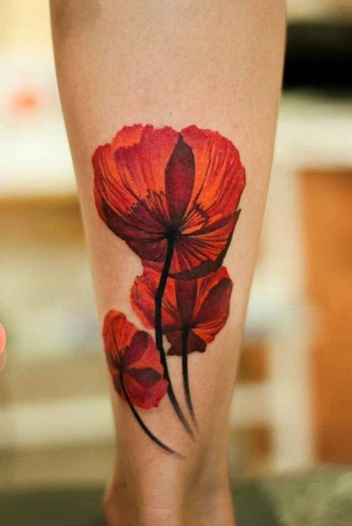 Wild Poppy Red Flower Fleur Tattoo - MyBodiArt.com