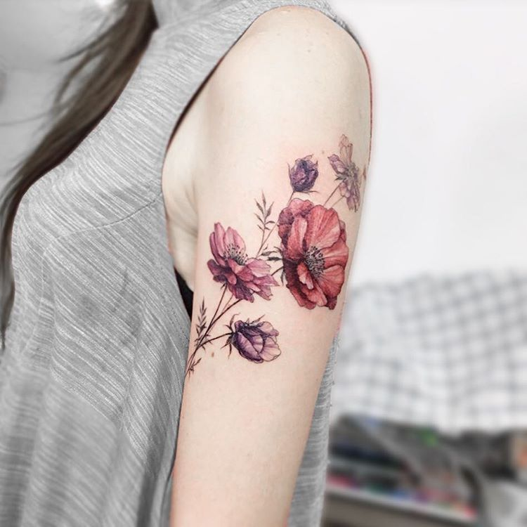 Watercolor Fleur Flower Arm Tattoo - MyBodiArt.com