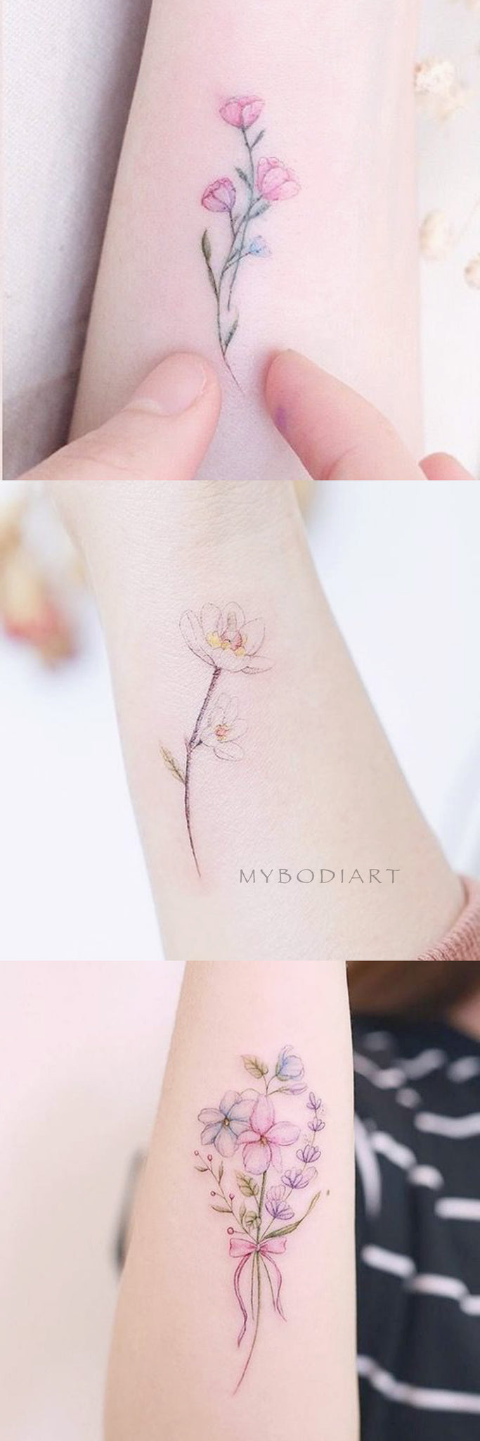 Delicate Cute Watercolor Floral Flower Rose Arm Tattoo Ideas for Women -  Ideas lindas de tatuaje de brazo de flor de acuarela para mujeres - www.MyBodiArt.com