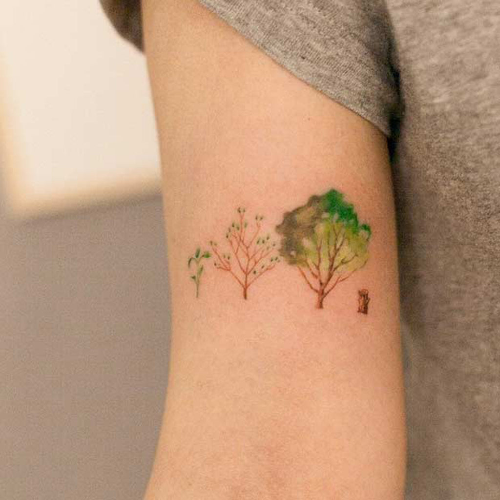 Watercolor Tree Tattoo Idea - MyBodiArt.com