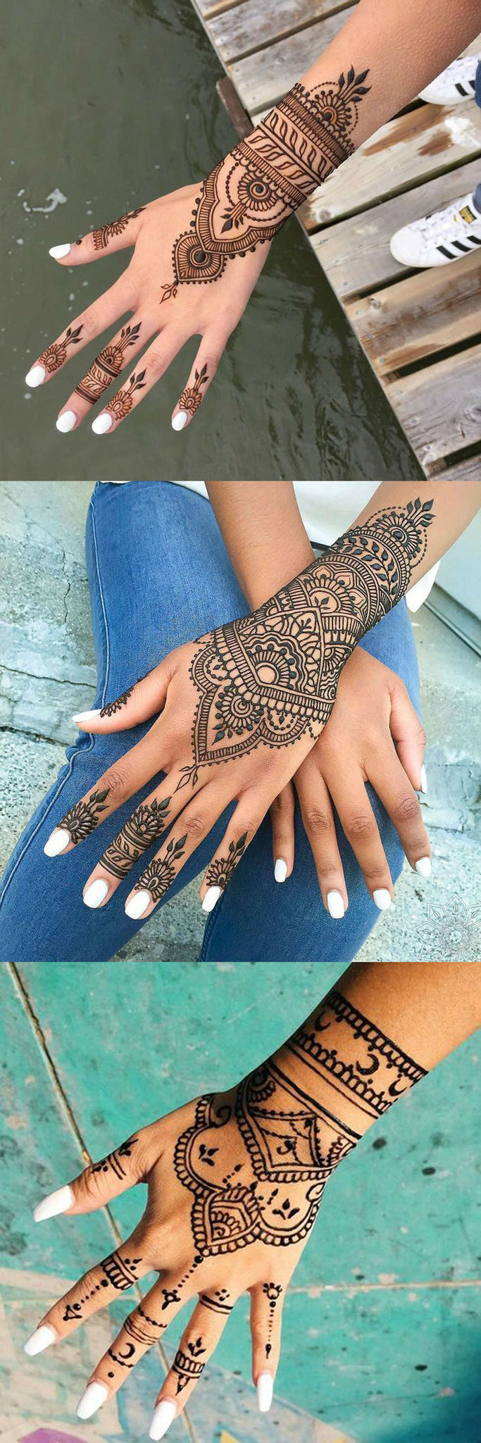 Black Hand Henna Mandala Tattoo Design Ideas with Meaning for Women -  mano Ideas de tatuaje con significado para las mujeres - www.MyBodiArt.com