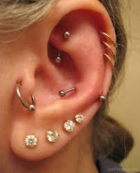 Multiple Ear Piercing Ideas for Tragus Rings, Helix Hoops, Rook Barbells, Crystal Ear Lobe Studs at MyBodiArt