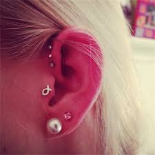 Classic Triple Forward helix Piercing Jewelry at MyBodiArt