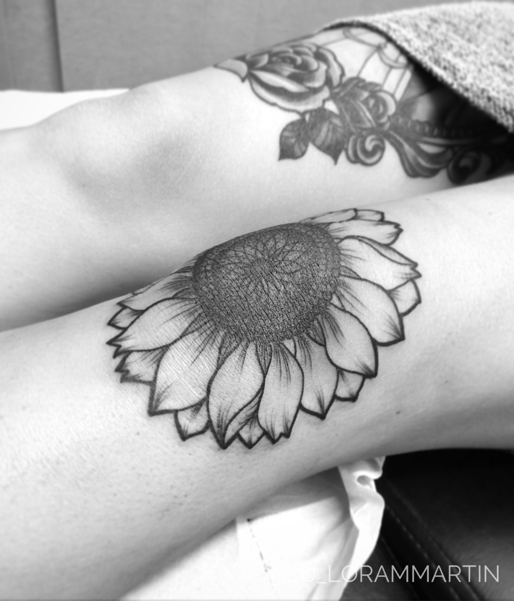 Realistic Vintage Sunflower Tattoo Ideas for Women On Knee Leg Thigh at MyBodiArt.com