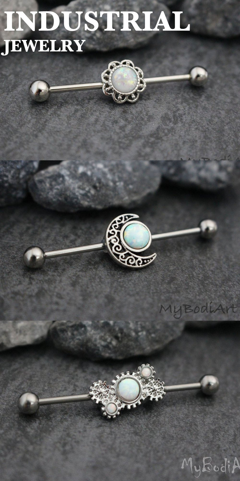 Ear Piercing Jewelry Opal Industrial Barbell Earring 14G at MyBodiArt.com