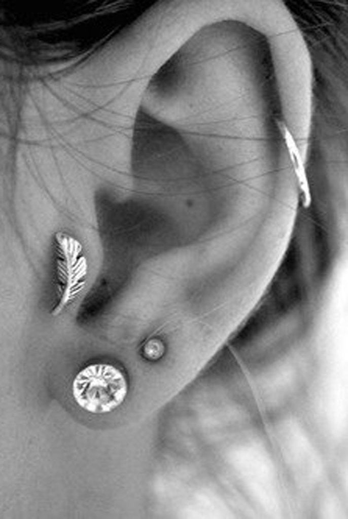 Leaf Tragus Earring Ear Piercing Jewelry - MyBodiArt.com