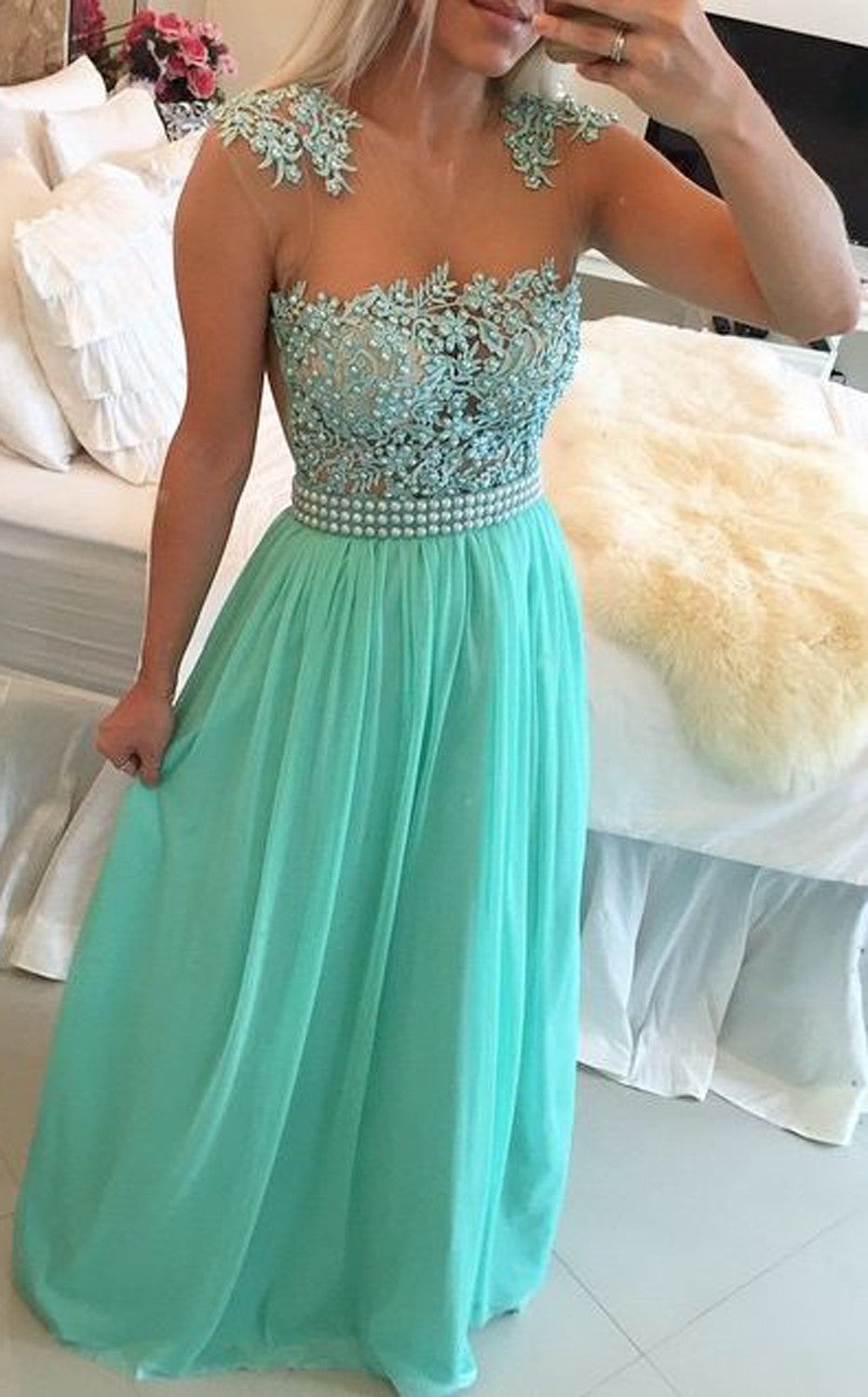 Cute Mint Green Poofy Prom Dress Floral Flower Lace Illusion Neckline - MyBodiArt.com