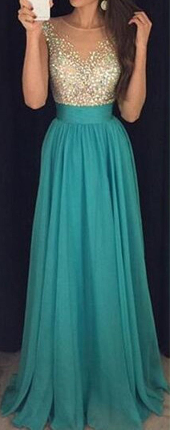 Sparkly Rhinestone Prom Dresses - Illusion Neckline Mint Green Ball Gown - MyBodiArt.com