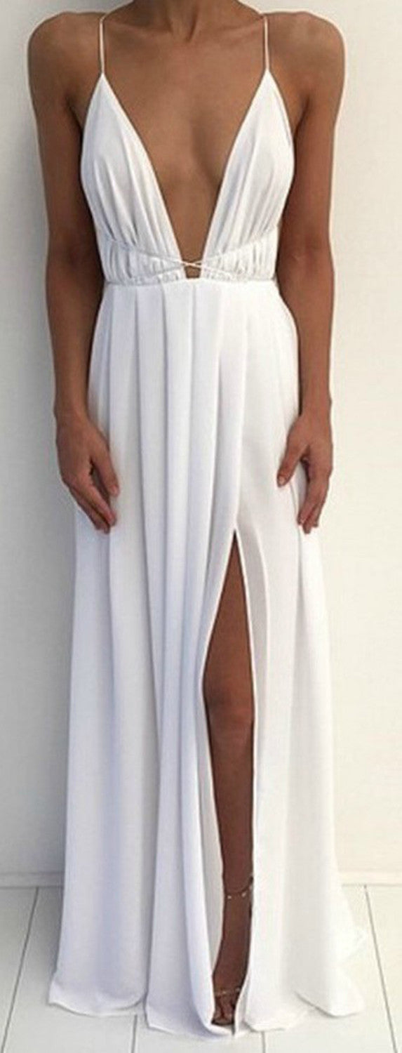 Ivory White V Neck Homecoming Long Maxi Dress with Slit for Teens  - MyBodiArt.com
