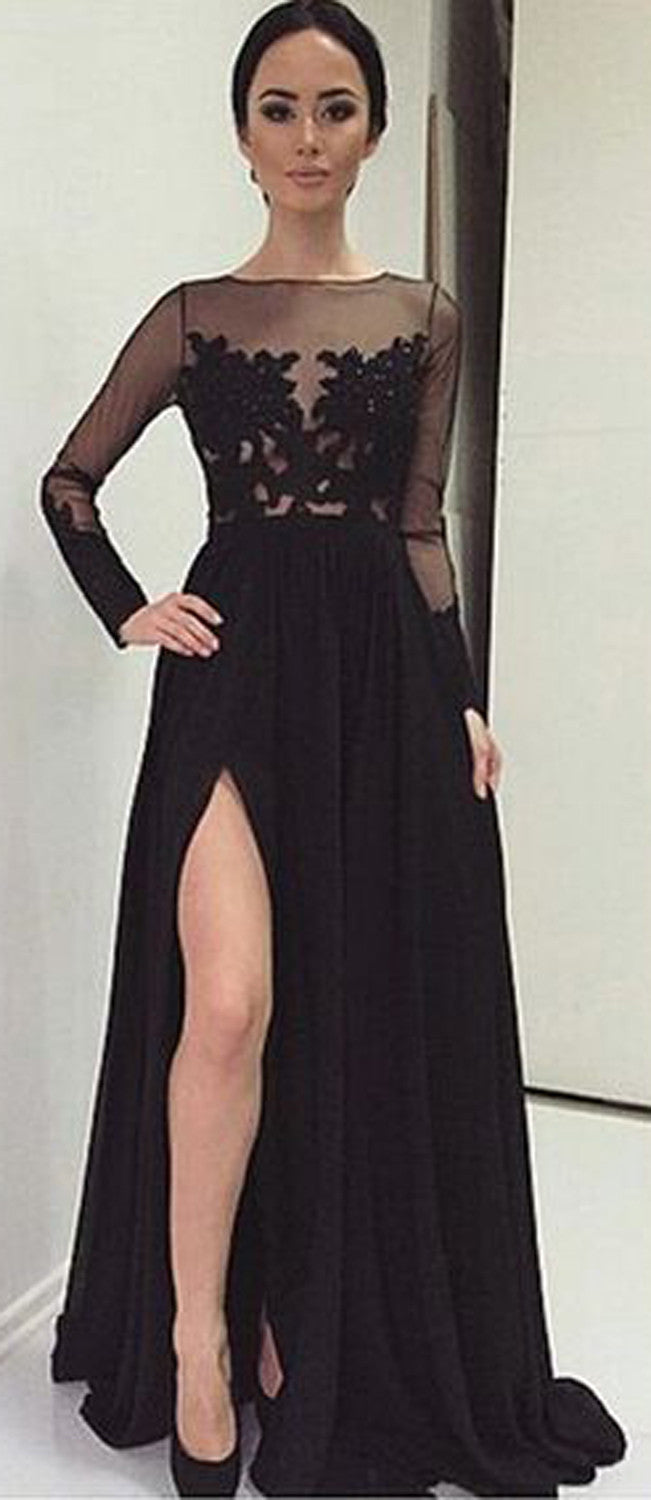 Classy Modern Black Floral Lace Illusion Long A Line Prom Dress with Slit - MyBodiArt.com