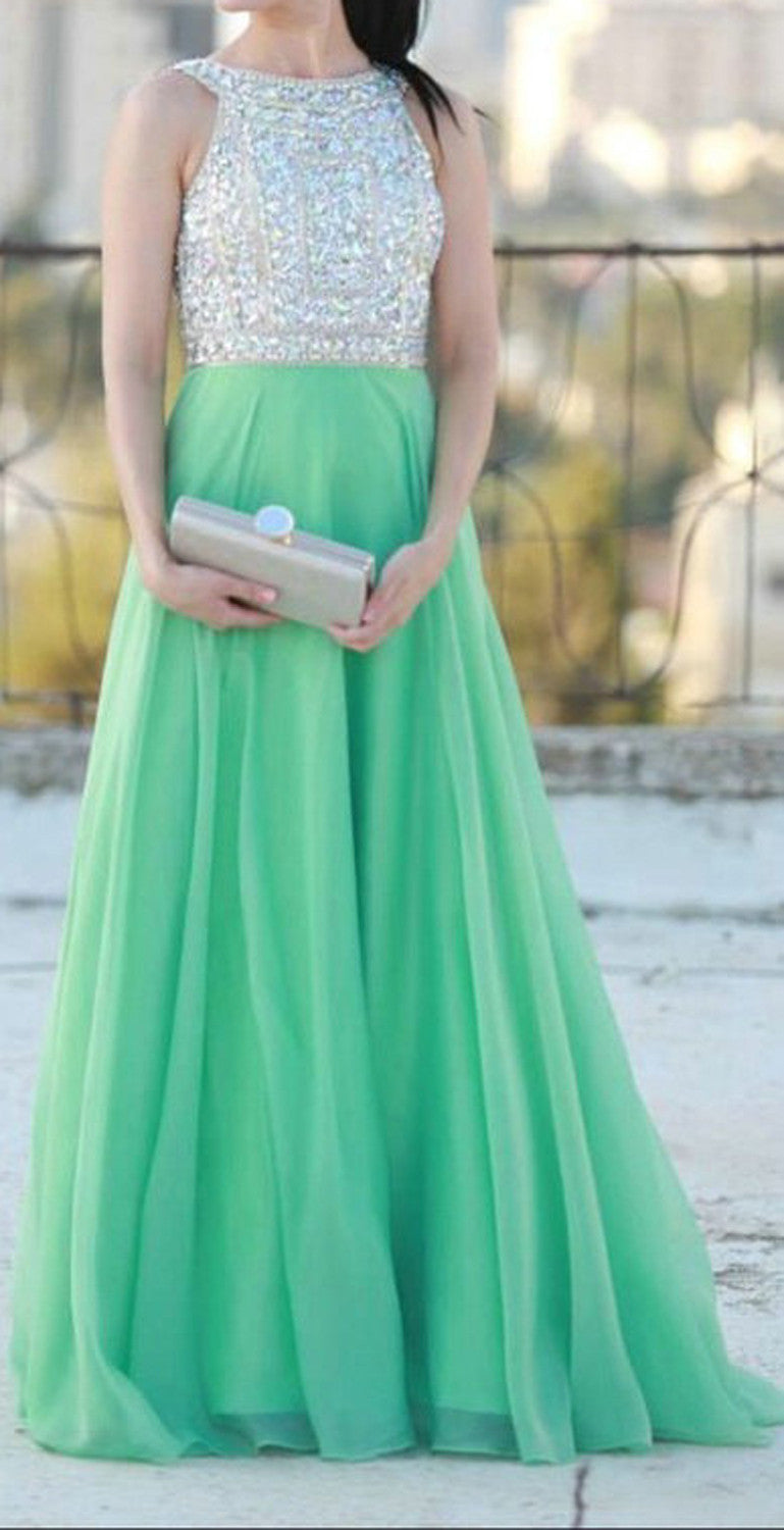 Cute Flowy Sparkly Teal Mint Homecoming Dress 2017- Empire Ball Gown - MyBodiArt.com
