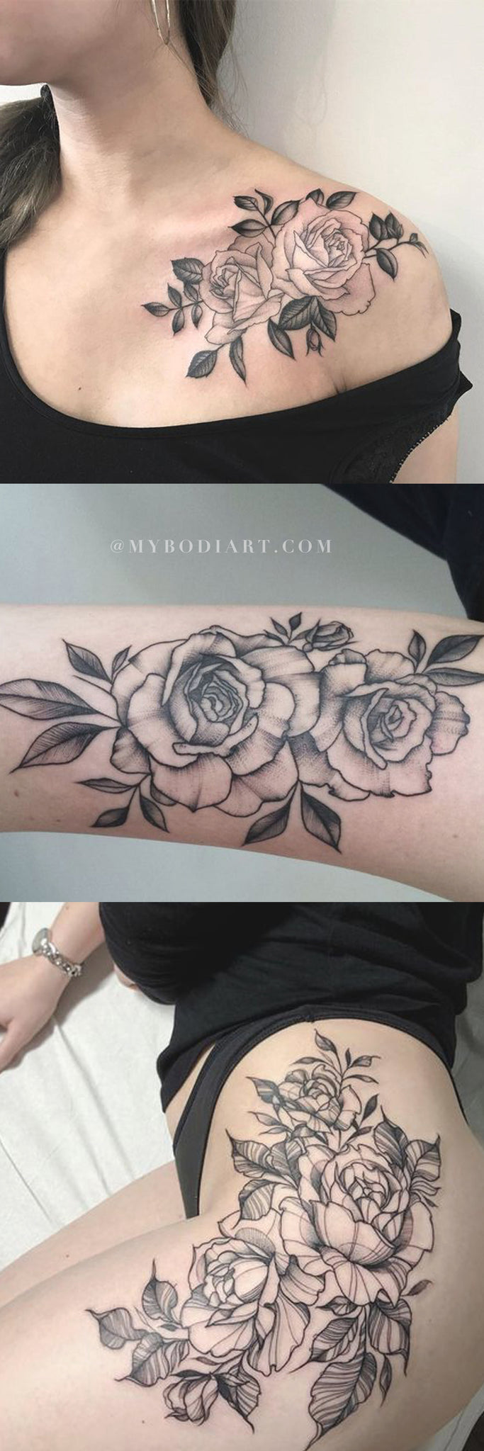 Traditional Trendy Rose Tattoo Ideas for Women - Floral Flower Outline Shoulder Thigh Arm Tattoos - www.MyBodiArt.com