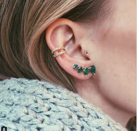 50 Beautiful Ear Piercing Jewelry ideas at MyBodiArt for Orbital Piercing