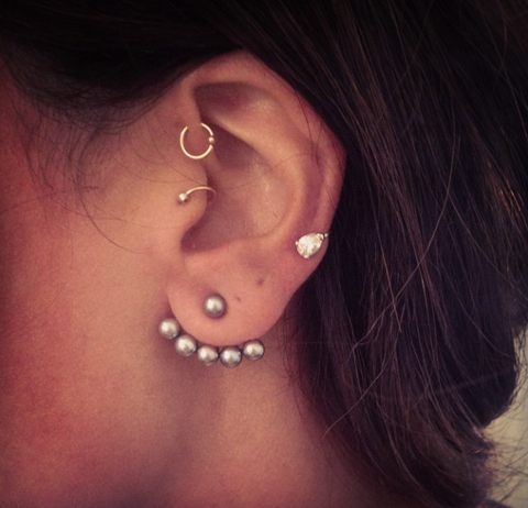 Gorgeous Multiple Ear Piercing Ideas for Tragus Piercing Jewelry at MyBodiArt