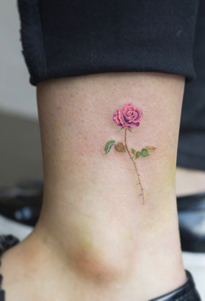 Tiny Simple Watercolor Single Rose Ankle Tattoo Ideas for Women - www.MyBodiArt.com