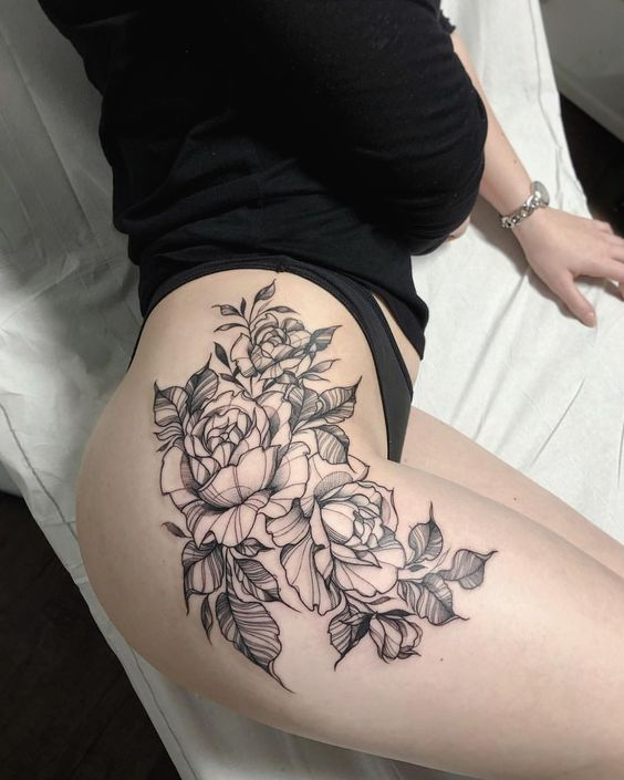2e81d66d7513e Traditional Rose Thigh Tattoo Ideas for Women Black Drawing Floral Flower  Hip Tattoos - rosa tatuaje