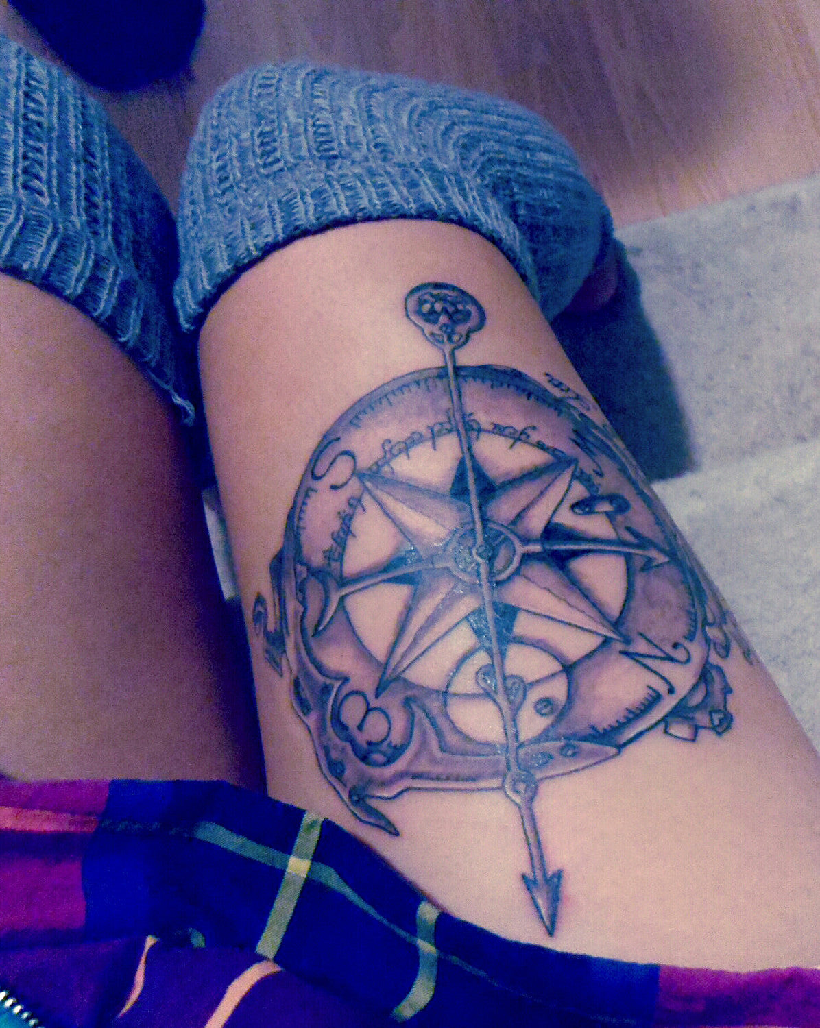 Vintage Compass Tattoo Ideas for Women - Thigh Tat - MyBodiArt.com