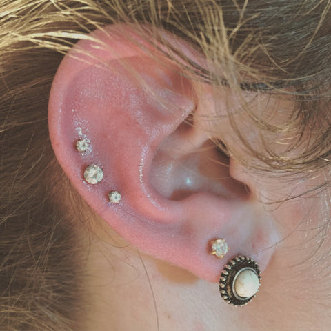Crystal Cartilage Studs at MyBodiArt