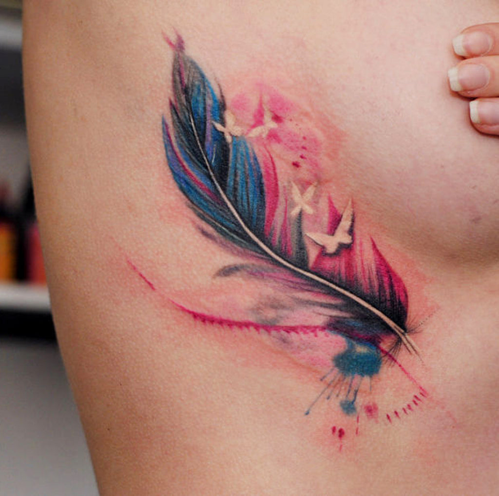 Feather Colorful Watercolor Tattoo Ideas - MyBodiArt.com