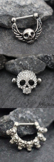 Punk Skull Septum Piercing Jewelry - Rocker Crystal Nipple Ring - Daith Earring Hoop 16G 14G - www.MyBodiArt.com