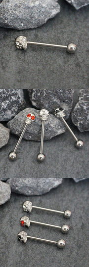 Crystal Skull Tongue Piercing Jewelry Barbell Stud Jewellery Ring 14G - www.MyBodiArt.com