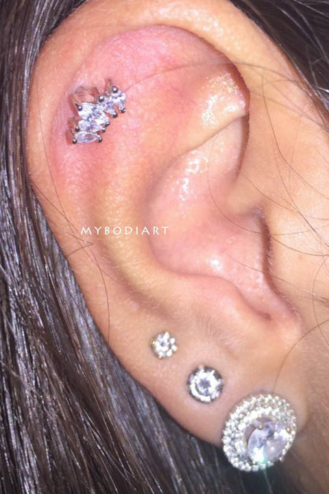 Cute Multiple Ear Piercing Jewelry Ideas Crystal Cartilage Earring Stud -  lindas ideas para perforar orejas para mujeres - www.MyBodiArt.com