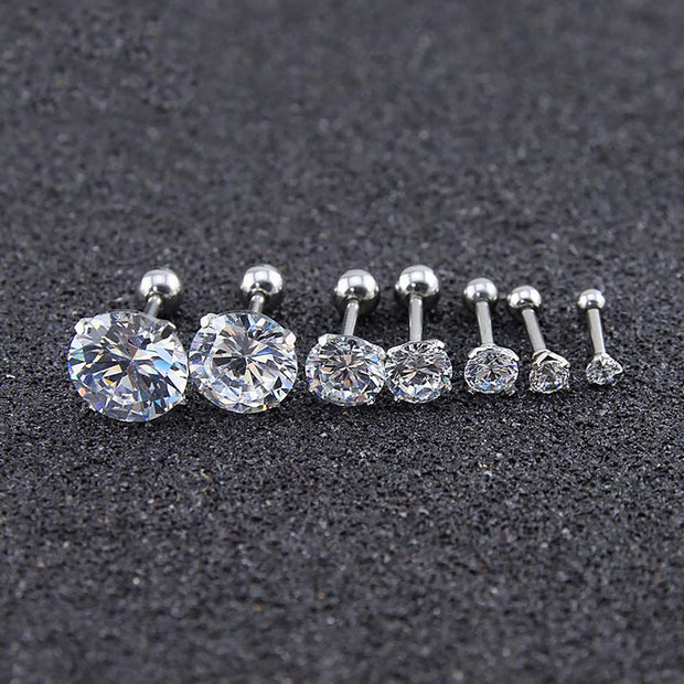 Beautiful Simple Crystal Cartilage Helix Tragus Conch Earring 16G Silver Stud Ear Piercing - www.MyBodiArt.com