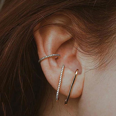 Multiple Simple Ear Piercing Jewelry Ideas - Trending Suspender Earrings Crystal Pave - www.MyBodiArt.com
