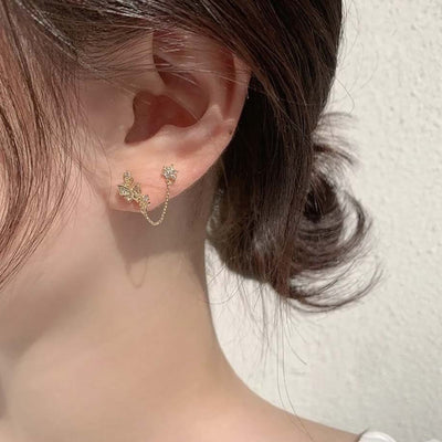 Classy Double Earlobe Chain Ear Piercing Jewelry Ideas for Women - www.MyBodiArt.com