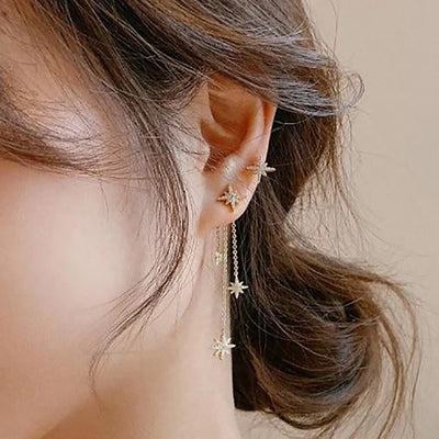 Cute Star Celestial Dangle Chain Earring Stud - www.MyBodiArt.com #earrings
