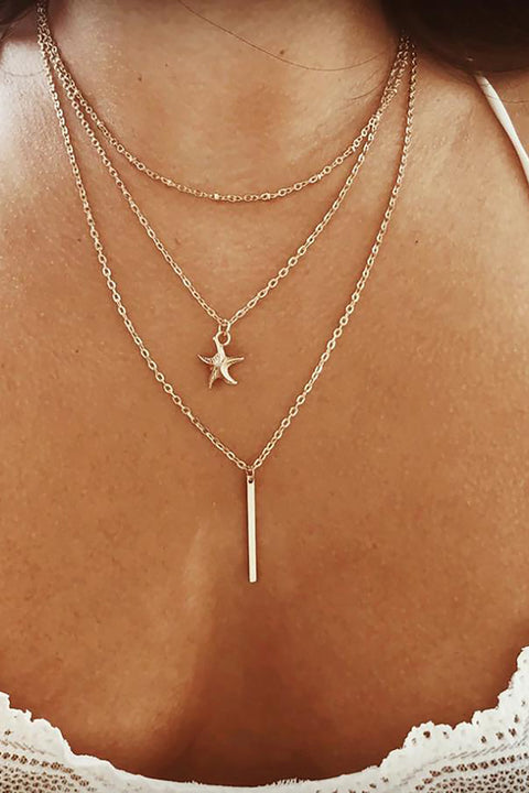 Cute Simple Layered Starfish Gold Chain Necklace Fashion Jewelry for Teen Girls for Women in Gold -  collar de cadena de estrella - www.MyBodiArt.com #necklace
