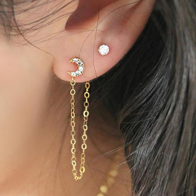 Cute Moon Chain Ear Piercing Jewelry Ideas for Women - www.MyBodiArt.com #earrings