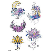 Salish Watercolor Sketch Linework Lotus Moon Temporary Tattoo