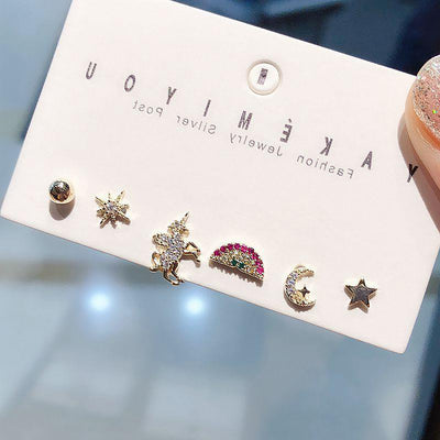 Cute Crystal Moon Star Unicorn Rainbow Earring Stud Set Fashion Jewelry - www.MyBodiArt.com
