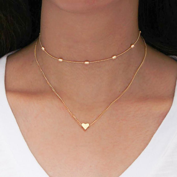 Cute Simple Double Layered Gold Heart Choker Necklace Fashion Jewelry for Women -  collar de corazón - www.MyBodiArt.com #necklaces